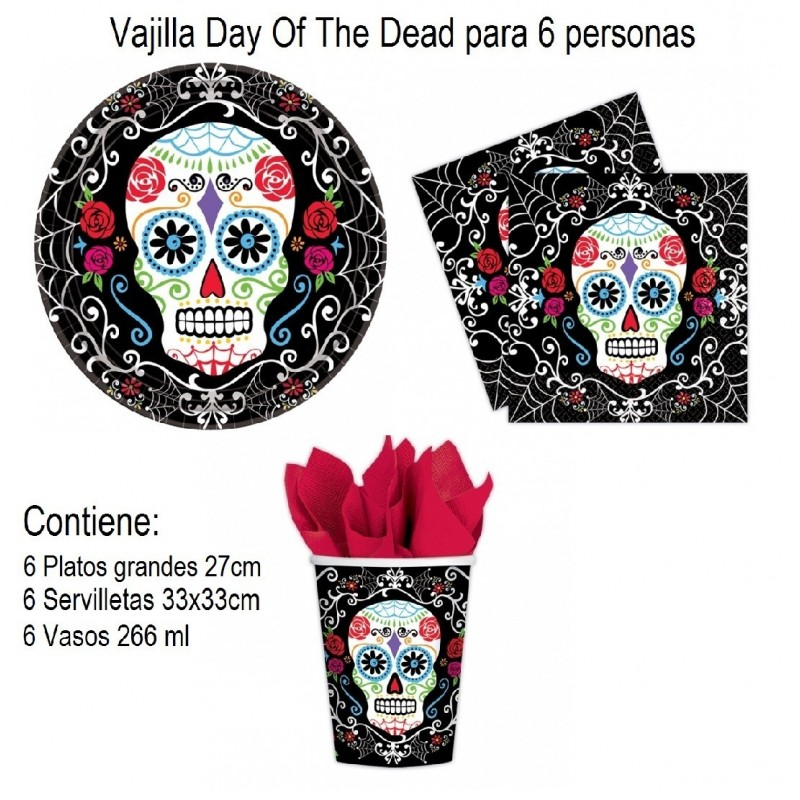 Vajilla para 6 Day Of The Dead ( platos vaso servilleta)