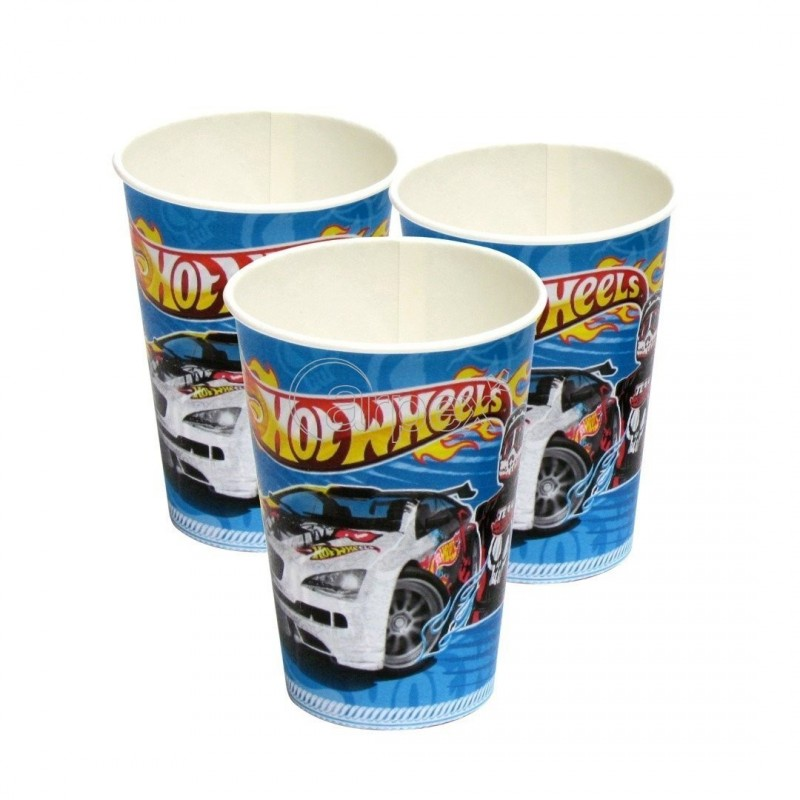 PACK 5 VASOS 180/200 ML HOT WHEELS
