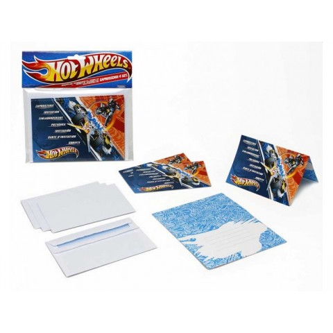 INVITACIONES CON SOBRE HOT WHEELS 4 UDS
