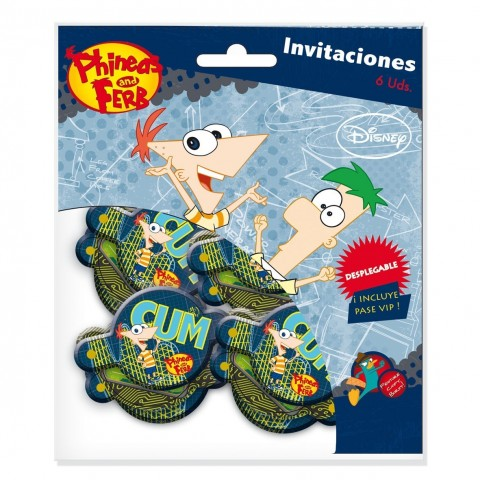 6 INVITACIONES PHINEAS AND FERB