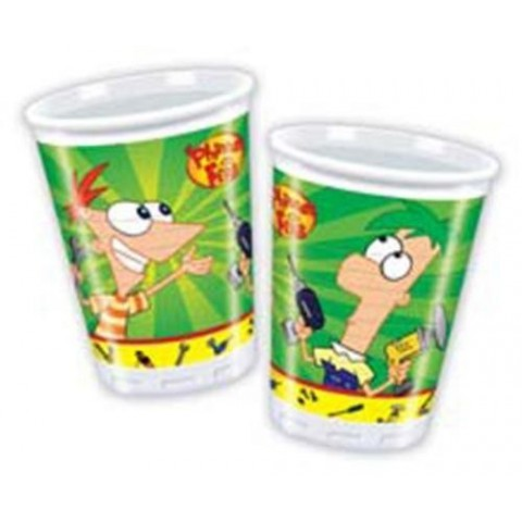 10 VASOS PHINEAS AND FERB  200 ml
